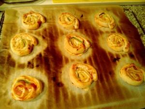 Caracolas rellenas de calabacín y queso
