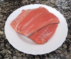 Piezas de salmón