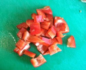 Pimiento rojo a corte grande