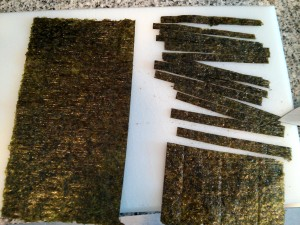 Alga nori cortada
