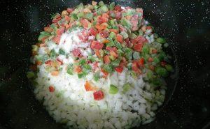 Echamos las verduritas al wok